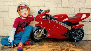 Funny Den BABY Biker! Unboxing And Assembling Red Sportbike for kids. Ride On POWER WHEEL Moto Bike