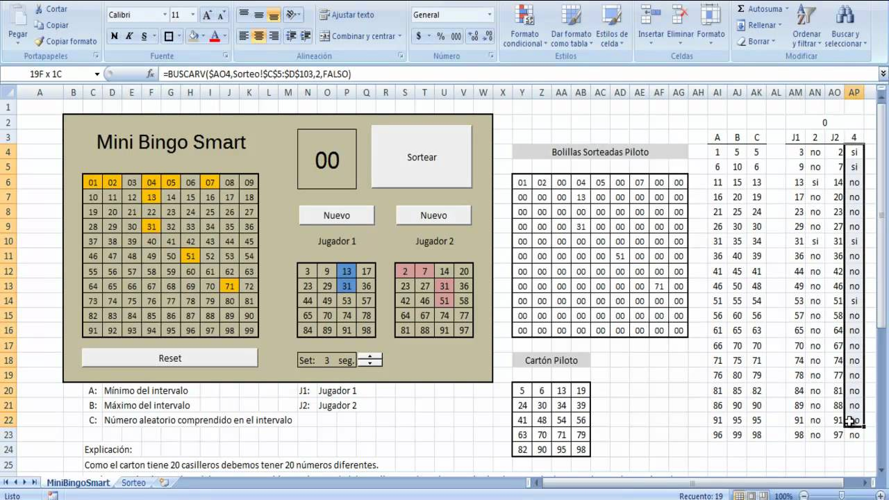 mini bingo smart en excel cont
