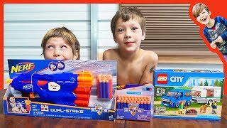 Unboxing Lego City Caravan and Nerf Gun