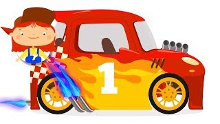 Racing cars cartoon. Race car tuning.