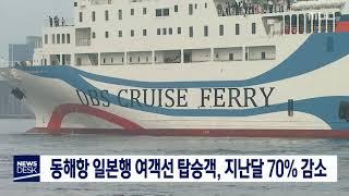 도권)동해항 일본행 여객선 탑승객, 지난달 70% 감소