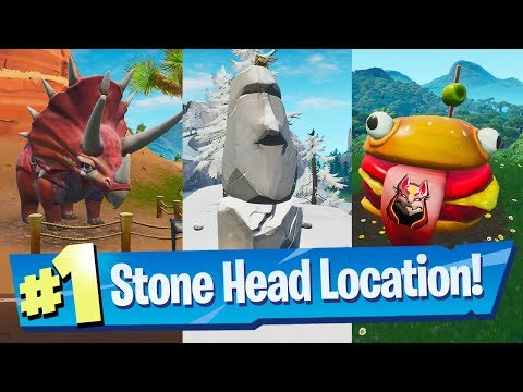Visit Drift painted Durrr Burger Head, a Dinosaur and a Stone Head Statue - Fortnite Road Trip