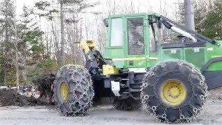 Stump Removal With a Skidder - John Deere 540 GIII