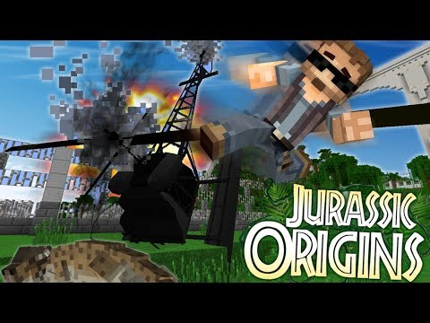 "Jurassic World Origins #5 ""HELICOPTER CRASH!"" (Dinosaur Mod Minecraft Roleplay)"