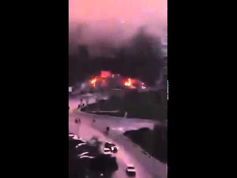 Latakia – Haroun circle: a fire caused by Grad missiles 25 1 2015