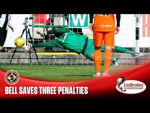 Dundee United's Cammy Bell saves three first half penalties in their victory against Dunfermline. LADBROKES PREMIERSHIP CONTENT AVAILABILITY INFORMATION - GOALS FROM SATURDAY'S MATCHES WILL...