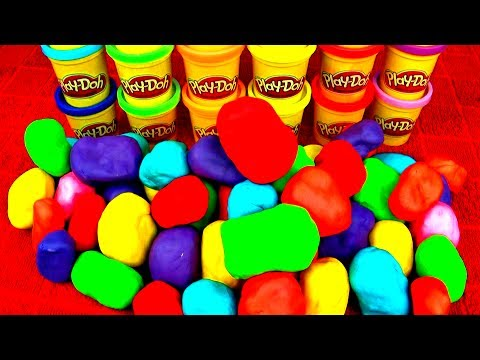 50 Play Doh Surprise Eggs!! Disney Angry Birds Spongebob Peppa Pig Frozen Marvel Spiderman FluffyJet