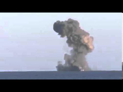 Уничтожение фрегата норвежским боевым кораблем