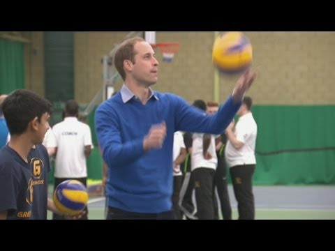 Prince William smashes it on the volleyball court