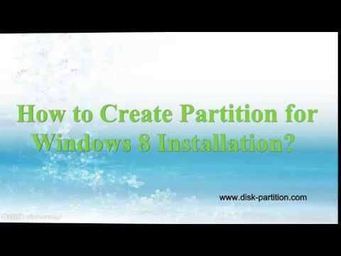 Create new partition for Windows 8 installation