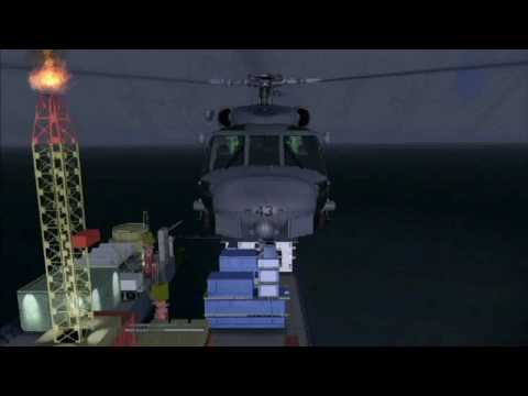 FSX - SH 60 Seahawk - Take off from an oil ring (EM08) - Landing on the USS GERALD FORD Video