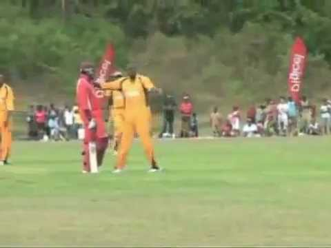 Usain Bolt Bowling-Cricket-Takes West indies captian Chris Gayle's Wicket