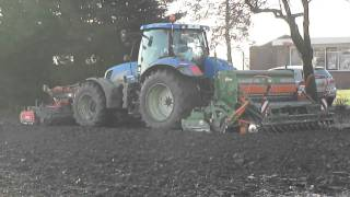new holland t6080 seeding on frozen ground in holland