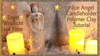 Nice Angel Candleholder - Polymer Clay - Tutorial, Engel Windlicht aus Fimo