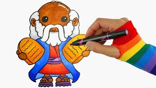 Sunday School - Drawing & Coloring Moses For Kids