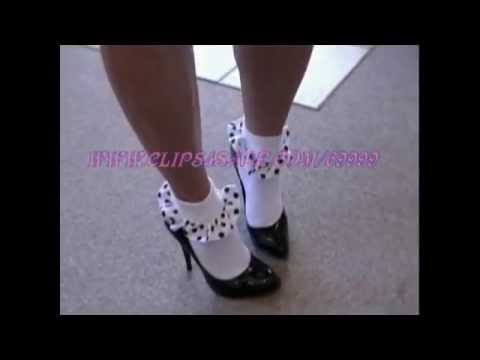 Polka Dot Frilly socks and Black patent high heel stiletto pumps
