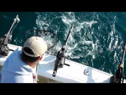 Catching Big Fish on Lake Michigan - Sheboygan Wisconsin May 16, 2012