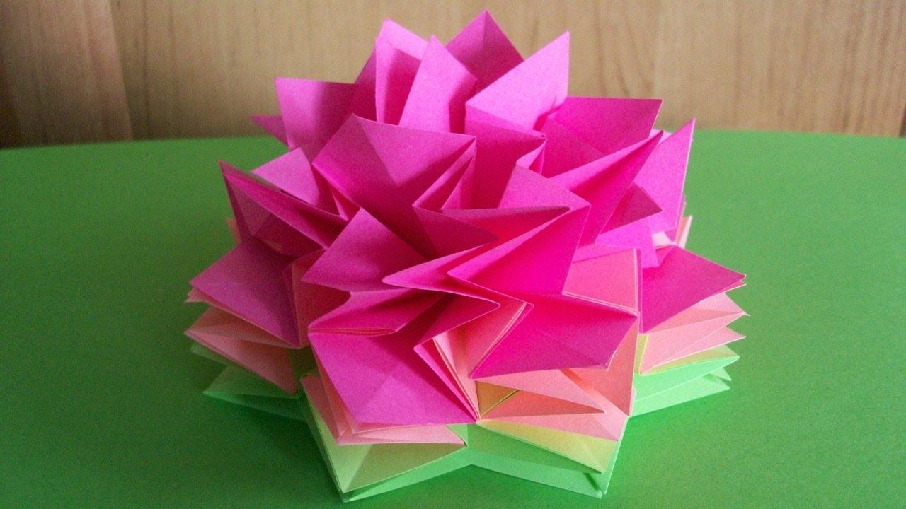 Объёмные цветы из бумаги своими руками оригами 27