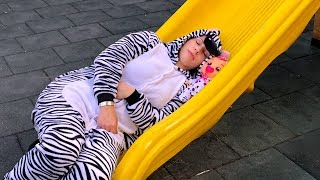 Kids play with Funny Zebra in the park with Joy Joy Lika