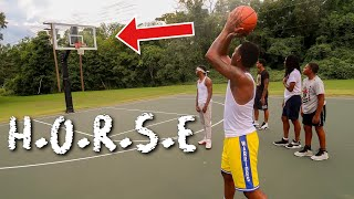 INTENSE basketball game of HORSE! Half court shots and trick shots!