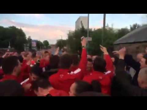 Video: Hamilton Accies team join celebrating fans in street party after Hibs victory