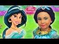 Costume Disney Princess Jasmine & Kids Makeup Alisa Pretend Play with DOLL & Real Princess Dresses