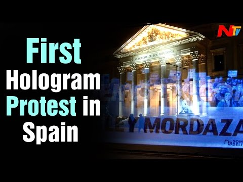 World First Hologram Protest held in Spain | NTV