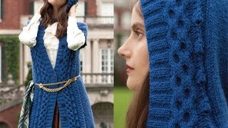 #1 Hooded Cardigan and #2 Boot Toppers, Vogue Knitting Fall 2013