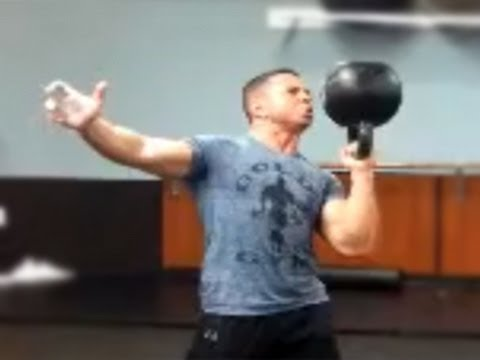 Ed Tessel - 48 kg Kettlebell Bottom Up Press / Жим гири 48 кг вверх дном Image 1
