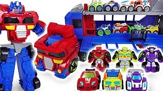 Wow! King Kong! Transformers Rescue Bots Flip Racers, Optimus Prime track trailer! Go! - DuDuPopTOY