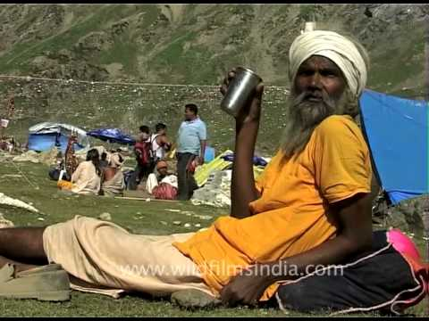 Pilgrims rest in camps on the Amarnath Pilgrim route