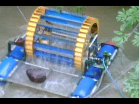 Bomba de agua en rio con rueda de paletas youtube for Bombas de agua para estanques de jardin