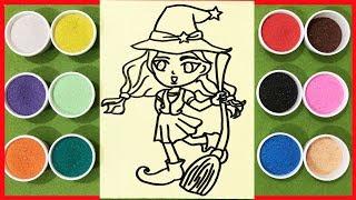 Đồ chơi trẻ em TÔ MÀU TRANH CÁT PHÙ THỦY NHỎ - Learn colors Sand Painting Toys (chị Chim Xinh)