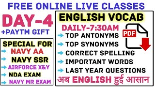 Day-4 English Vocab Tonic    Top-1000+ Questions    Last Year Synonyms & Antonyms