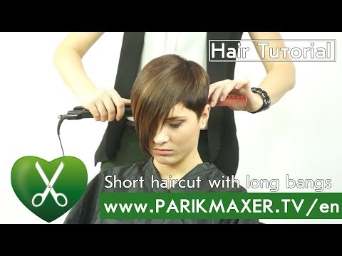 Short haircut with long bangs. Viktorija Vradij. parikmaxer tv english version