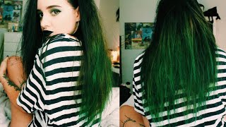 DYING MY HAIR GREEN WITHOUT BLEACH // KHLO KO.