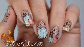 Fall Cheetah Pumpkin Nail Art | Rikki's Nails