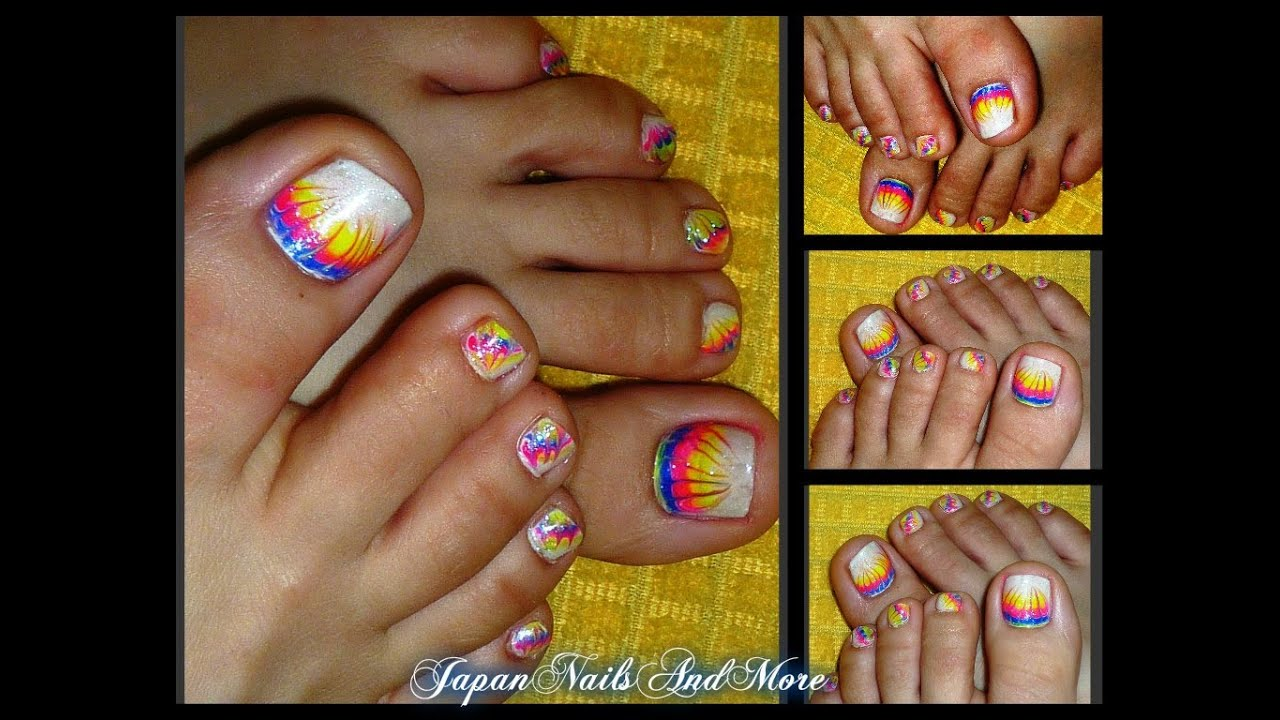 Rainbow Gel Toe Nail Design
