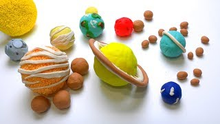DIY How to make Play Doh Solar System Planets & its Moons How many Moons in universe Kids Play dough