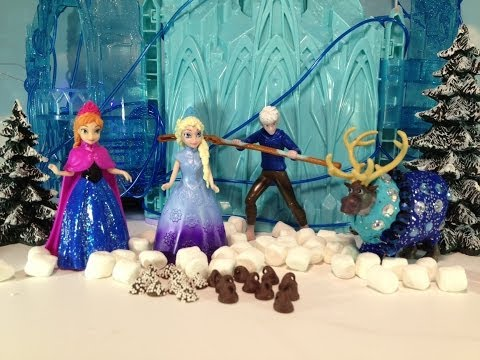 Disney Frozen Elsa and Jack Frost from Rise of the Guardians Movie make Candy for Disney Olaf