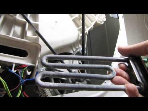 Видео как снять ТЭН стиральной машины