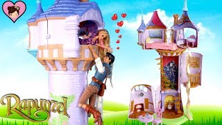 Barbie Rapunzel Tower Dollhouse with Bedroom , Kitchen Long Hair!