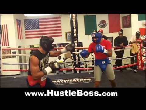 J'Leon Love (14-0, 8 KO's) sparring Chris Pearson (7-0, 6 KO's) at the Mayweather Boxing Club Image 1