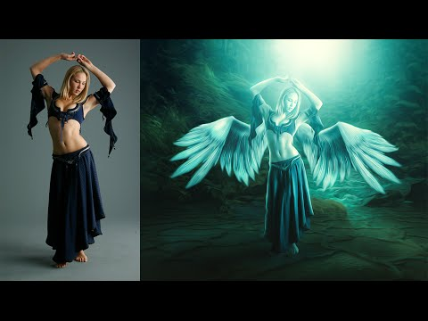 Photoshop Photo Manipulation Tutorial | Effects Feather Girl