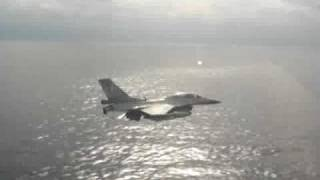 Greek F16 Low Flight Over The Aegean
