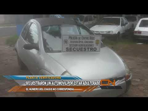 Vehículo secuestrado por tener adulterado el numero de chasis