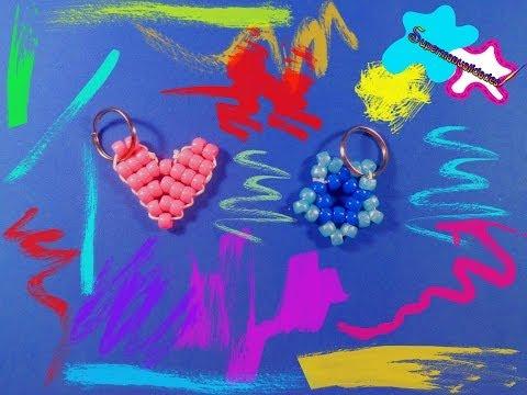 Llaveros de corazón y estrella con cuentas kandi ♥SUPERMANUALIDADES♥