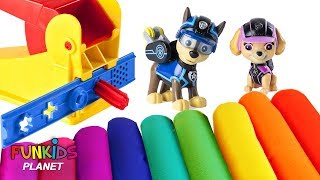 Learn Colors for Children: Paw Patrol Skye & Chase Play-doh with Teddy Bear & Surprise Toys