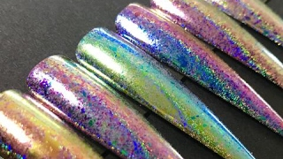 New Product Swatches: (Crack)le Chrome (Duochrome/Holographic/Flaky Pigment) from Wildflowers Nails