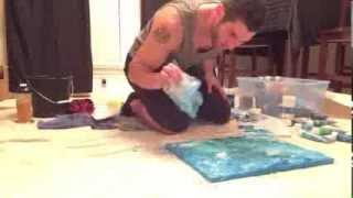 """Sky & Sea"" Abstract Art DIY How-To Painting with Acrylics"